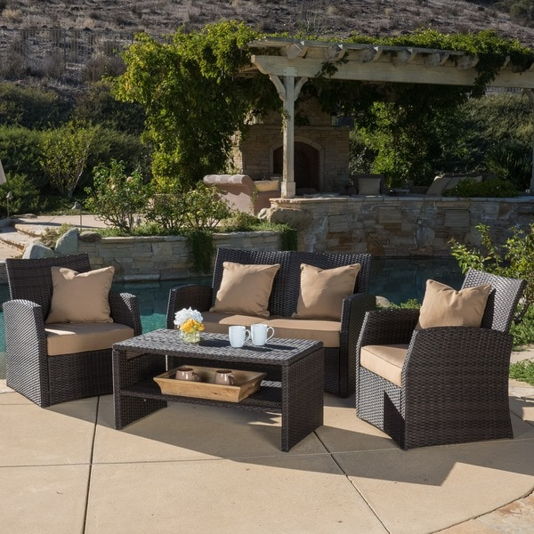 Christopher Knight Home Sanger Outdoor 4 piece Brown