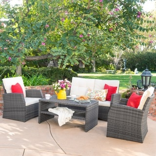 Christopher Knight Home Sanger Outdoor 4-piece Grey Wicker Seating Set