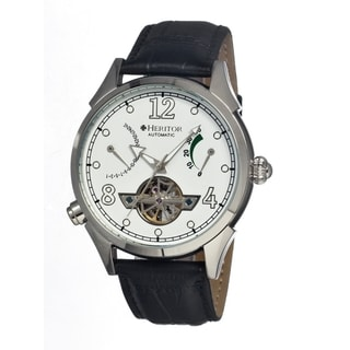 Heritor Men's Bragg Black Leather White Dial Analog Skeleton Watch