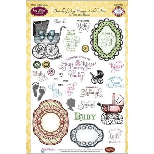 JustRite Papercraft Clear Stamp Set 6 X8 - Bundle Of Joy Vintage Labels 5 30pcs