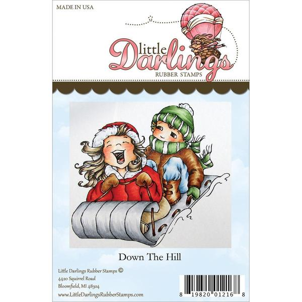 Little Darlings Unmounted Rubber Stamp 3.545 X3.25 - Down The Hill