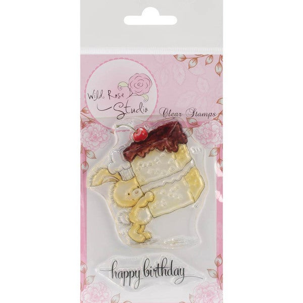 Wild Rose Studio Ltd. Clear Stamp 3.5 X3 Sheet - Bunny W/Cake