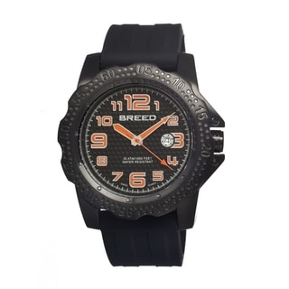 Breed Men's Deep Black Silicone Black Textured Dial Analog Watch
