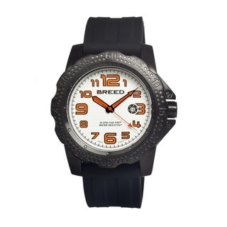 Breed Men's Deep White Dial Black Silicone Analog Watch