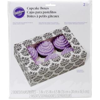 Cupcake Boxes - 6 Cavity Damask 2/Pkg