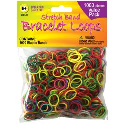 Stretch Band Bracelet Loops 1000/Pkg - Assorted Colors