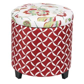 Storage Cotton/Wood Floral Ottoman