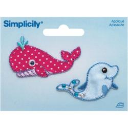 Whale & Dolphin Iron On Applique - 2 X1-1/4 2/Pkg