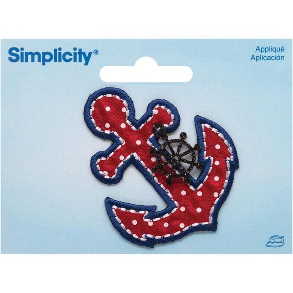 Anchor W/ Ship's Wheel Charm Iron On Applique - 2 X2.87 1/Pkg