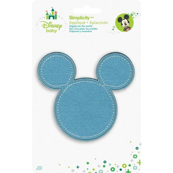 Disney Mickey Mouse Mickey Blue Silhouette Iron-On Applique -