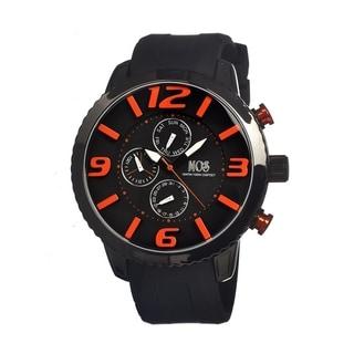 Mos Men's Milan Black Dial Silicone Black Analog Orange Numeral Watch