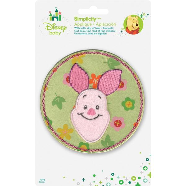 Disney Winnie The Pooh Piglet Flower Circle Iron-On Applique -