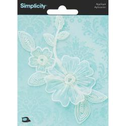 Elegant Expression White Flower Applique - 1/Pkg