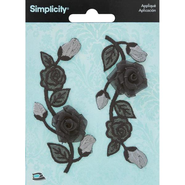 Elegant Expression Black & Silver Flower Applique - 2/Pkg