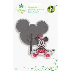 Disney Mickey Mouse Minnie W/Silhouette Iron-On Applique -