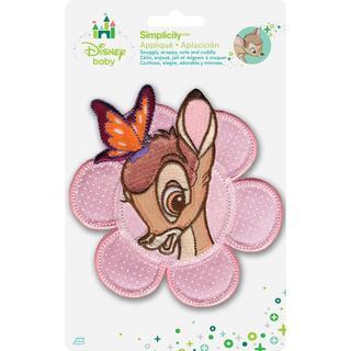 Disney Bambi W/Butterfly In Flower Iron-On Applique -