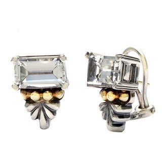 Caviar Silver and 18k Yellow Gold Crystal Earrings