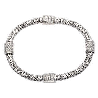 John Hardy Silver and 3/4ct Diamond 4-station Bracelet