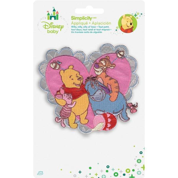 Disney Winnie The Pooh Pooh & Friends Heart Iron-On Applique -