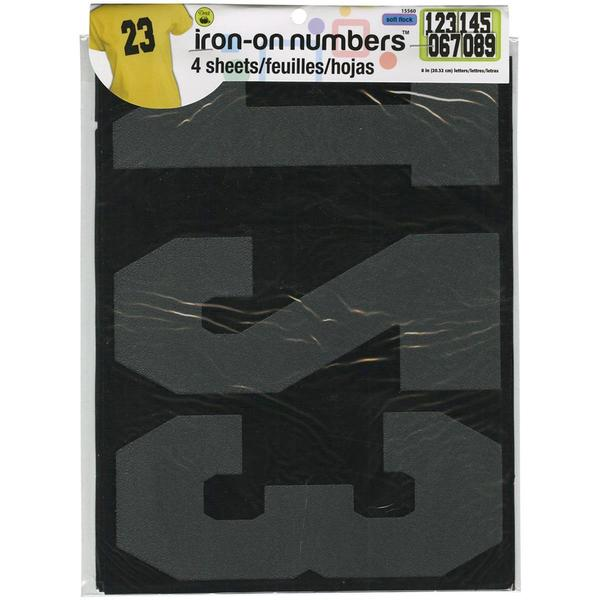 Soft Flock Numbers 8 Athletic - Black 4/Sheets