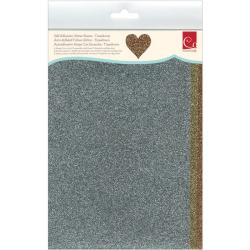 Self-Adhesive Glitter Sheets 6 X9 3/Pkg - Tinseltown - Silver/Gold/Bronze