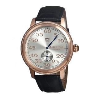 Heritor Men's Bohr Black Leather Silvertone Dial Analog Watch