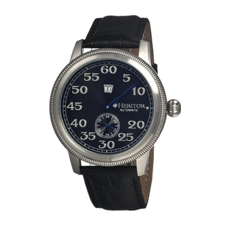 Heritor Men's 'Bohr' Black Leather Strap Analog Watch