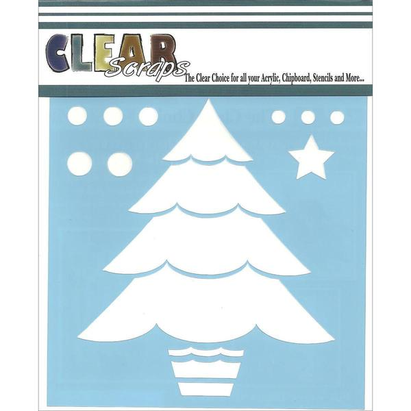 Clear Scraps Stencils 6 X6 - Layered Christmas Tree