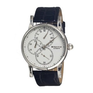 Heritor Men's Thomson Black Textured Leather White Dial Analog Watch