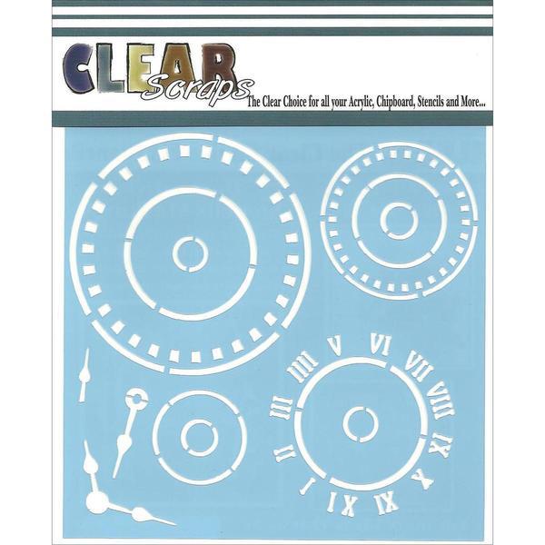 Clear Scraps Stencils 6 X6 - Roman Clock