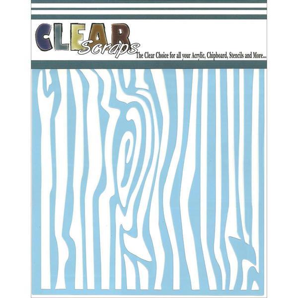 Clear Scraps Stencils 6 X6 - Wood Grain