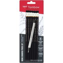 Tombow MONO Drawing Pencils 6/Pkg & Eraser Set - Black