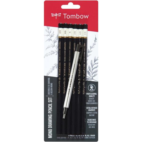 Tombow MONO Drawing Pencils 6/Pkg & Eraser Set - Black