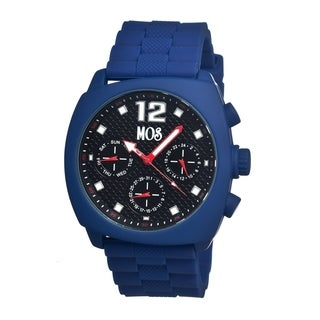 Mos Men's 'Berlin' Black Dial Blue Silicone Strap Analog Watch