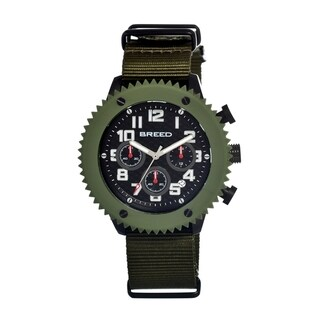 Breed Men's 'Decker' Black Dial Olive Nylon Strap Analog Watch