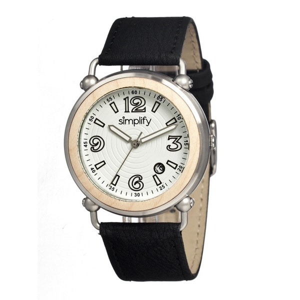 Simplify Men's Black Leather 'The 1600' White Analog Watch