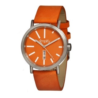 Simplify Men's Orange Leather 'The 400' Analog Watch