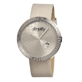 Simplify Men's Grey Leather 'The 1800' Analog Watch