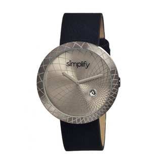 Simplify Men's Leather 'The 1800' Pewter Analog Watch