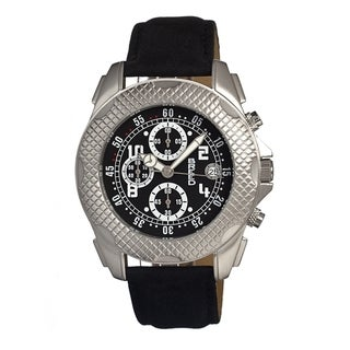 Breed Men's Black Leather 'Theo' Analog Watch