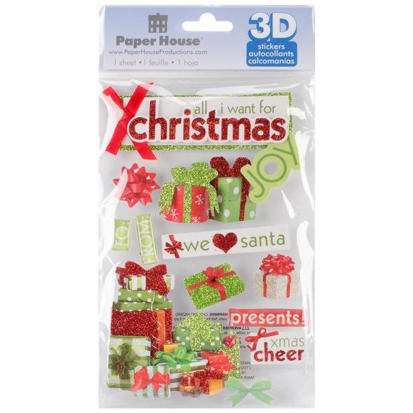 Paper House 3-D Sticker - All I Want For Christmas