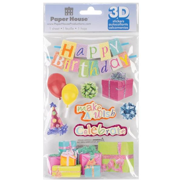 Paper House 3-D Sticker - Happy Birthday