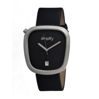 Simplify Men's Black Leather 'The 1400' Analog Watch