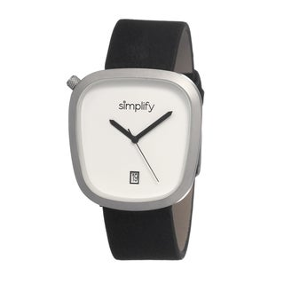 Simplify Men's Black Leather 'The 1400' White Analog Watch