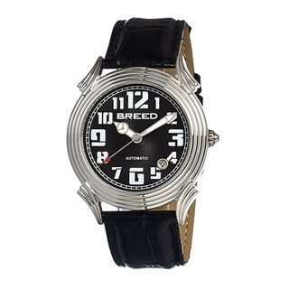 Breed Men's Black Leather 'Strauss' Analog Watch