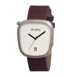 Simplify Men's Brown Leather 'The 1400' White Analog Watch