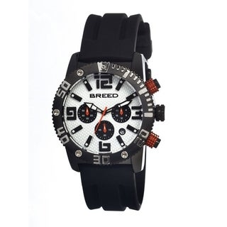 Breed Men's Black Rubber 'Agent' White Analog Watch