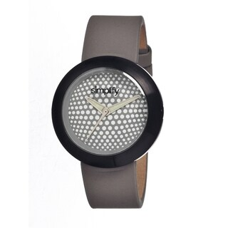 Simplify Men's Grey Leather 'The 1200' Analog Watch