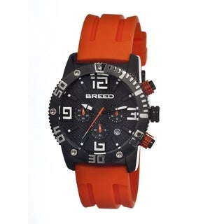 Breed Men's Orange Rubber 'Agent' Black Analog Watch