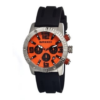 Breed Men's Black Silicone 'Agent' Orange Analog Watch